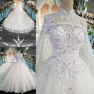 Image 5 - LS00169 Luxury wedding gowns with cape beaded ball gown short sleeves high neckine lace vestido de noiva princesa real photos