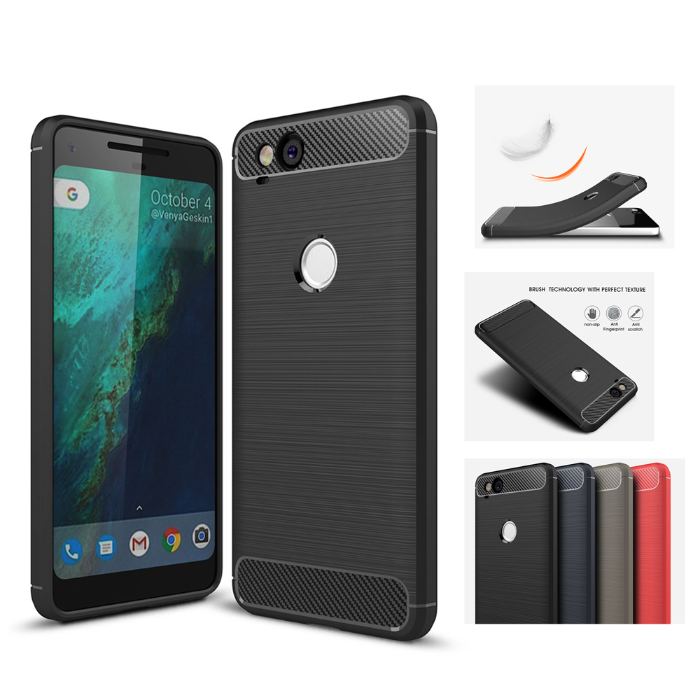 Case For Google Pixel 2 XL Luxury Carbon Fiber Silicon Case For Pixel 2 XL Soft TPU Case Cover Shell Coque Capa