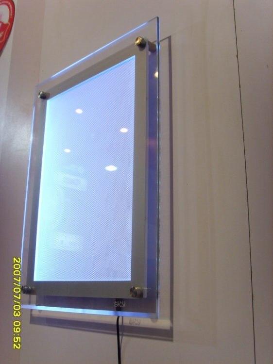de acrílico, Placa de LED Publicidade tamanho a4 Foto Frames