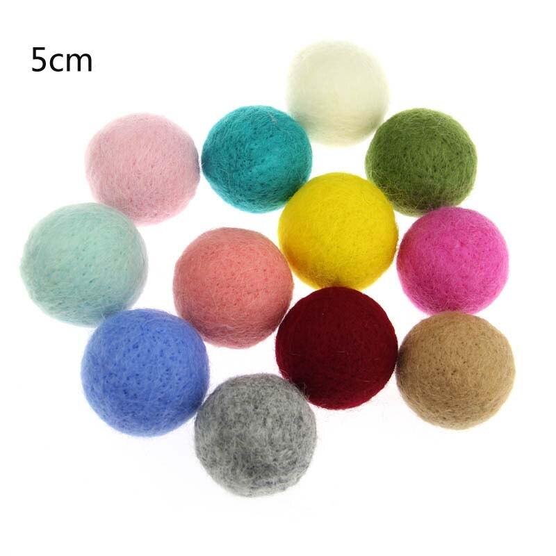 2pcs/Set Wool Felt Balls Round Wool Felt Balls Pom Poms Mixed Color Wholesale 20 Colors 50mm Diameter