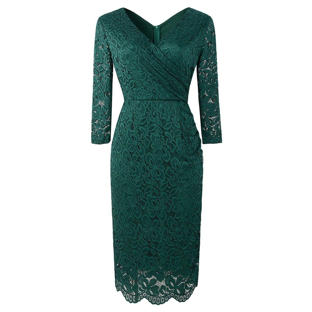 Женское модное элегантное вечернее платье с перекрестным v-образным вырезом, прямое однотонное кружевное платье с длинным рукавом, вечерне...