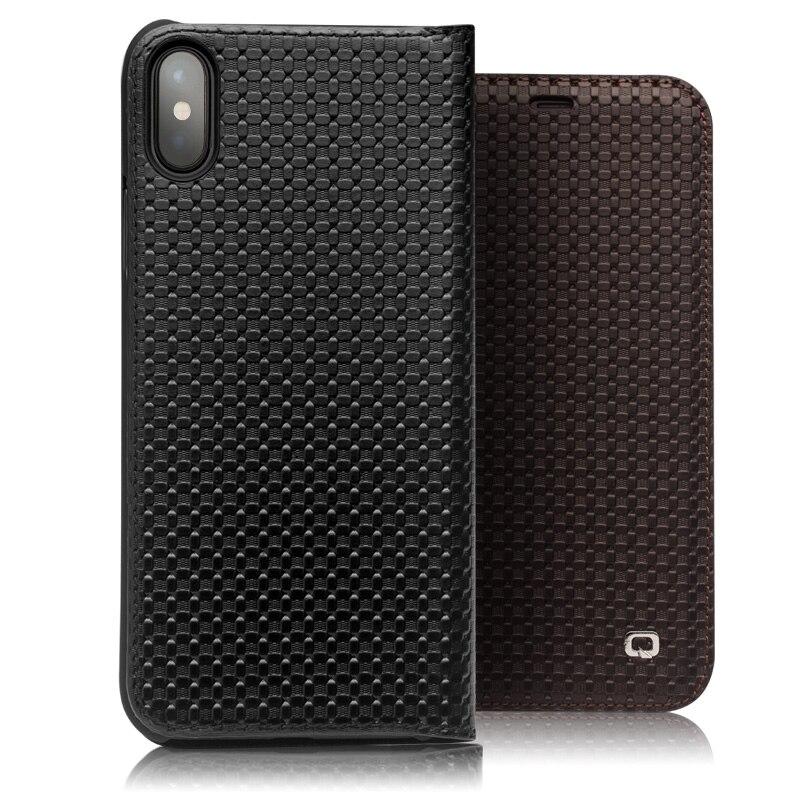 QIALINO Mode Véritable Étui En Cuir pour iPhone X Main Flip Sac couverture pour iPhone X De Luxe Ultra Mince Flip Cas pour 5.8 pouces