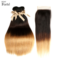 Remy Forte Straight Hair Bundles With Closure Brazilian Ombre 3 Bundles With Closure T1B/4/27 Cheap Bundles Of Hair With Closure