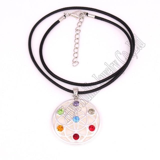 07064c7cb1 Nuovo Arrivo fiore della vita sette chakra cristalli simbolo di fascino  religioso collana del pendente Buddista