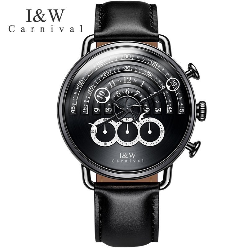 Carnaval novo masculino cronógrafo relógio de quartzo analógico relógio esporte 24 horas exibição safira à prova dwaterproof água moda relogio masculino - 1