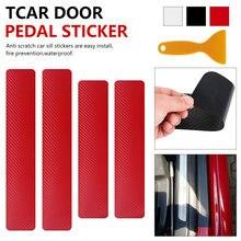 Pegatinas de vinilo de umbral de fibra de carbono para umbral de puerta de coche, antiarañazos película protectora, pegatinas multifuncionales para coche