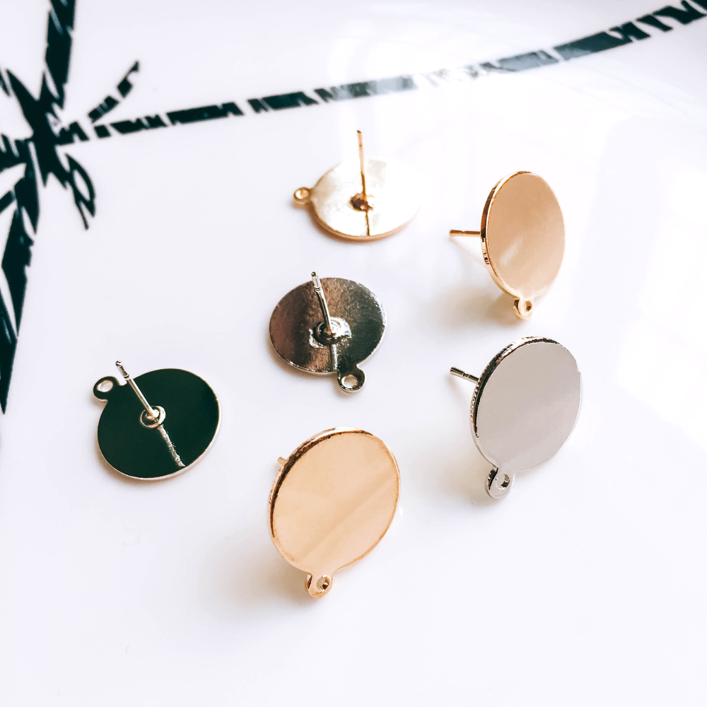 ZEROUP Gold Silver Plated Earring Setting Round Cabochon Base Earring Accessories Copper Material DIY Handmade Craft 6pcs