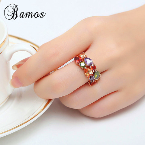 Bamos New Retro Geometric Multicolor & White AAA Zircon Rainbow Rings For Women Rose Gold Filled Wedding Jewelry Best Lover Gift Islamabad