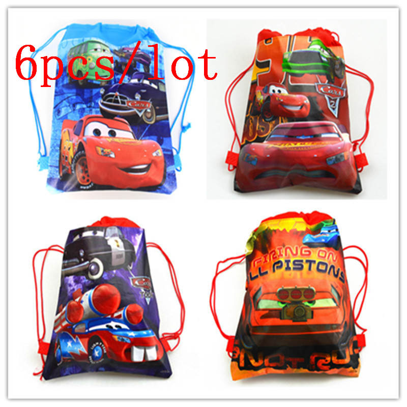 Us 6 39 25 Off 6pcs Lot Disney Car Theme Child Birthday Party Cartoon Drawstring Bags Kids Favor String Back School Backpack Supplies In Gift