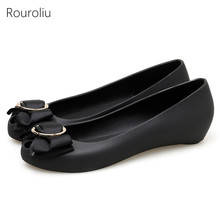 Rouroliu Women Slip-On Casual Shoes Metal Decoration Peep Toe Jelly Shoes Woman Spring Autumn Comfortable Flats FR89