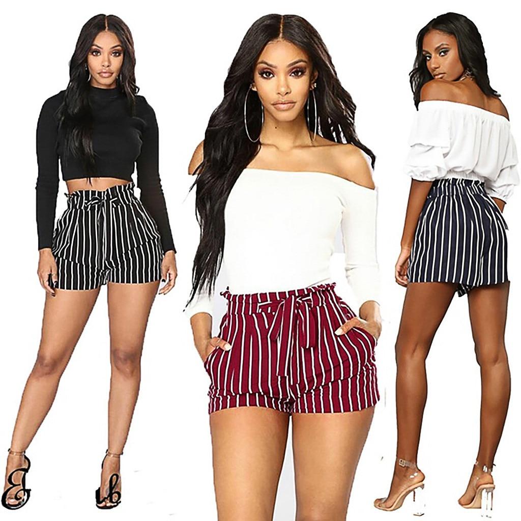 Stripe   shorts   women Summer 2019 Elastic High Waist Pocket Bandage Casual women   shorts   spodenki damskie