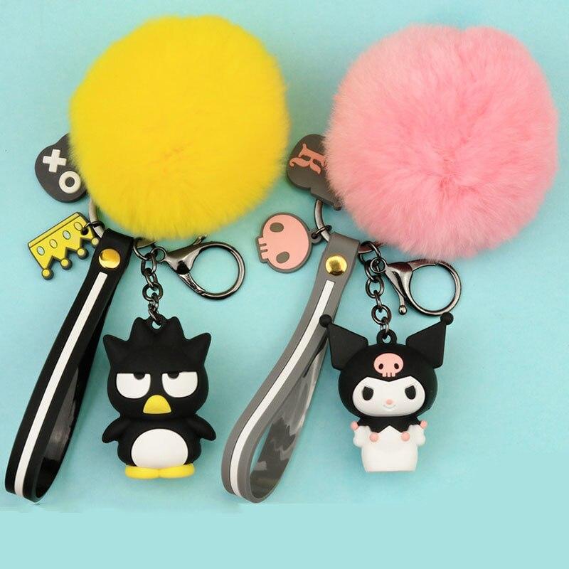 1 Pc Nette My Melody Pudding Cinnamoroll Hund KT Fur Ball Keychain Plüsch-schlüsselanhänger Tasche Anhänger Schlüsselring für Mädchen Plüsch spielzeug