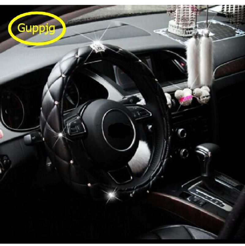7 color car steering wheel cover pu leather 38cm rhinestone crystal diamond crown styling auto. Black Bedroom Furniture Sets. Home Design Ideas