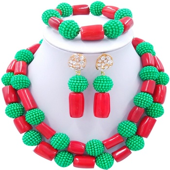 Free Shipping Red Green African Design Women Anniversary Gift Crystal Jewelry Sets 2C-ZHSH-04
