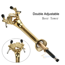 ФОТО Golden Beer Tower Chrome Plated Brass Double Adjustable Beer Tap Faucet With Beer Label Badge Holder Homebrew