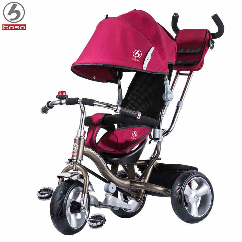BOSO child tricycle EVA wheel for 8month-5years old baby steel and TPR frame baby stroller bike child drift trike 4 wheels walker kids ride on toys for 1 3 years tricycle outdoor driver