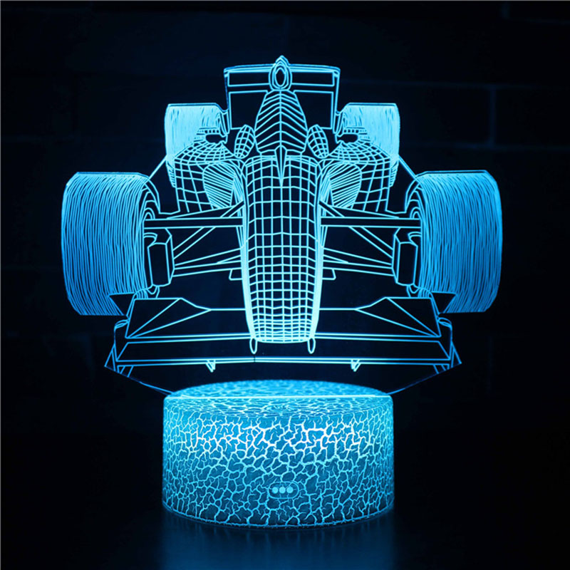 Magiclux Novelty Lighting 3D Illusion LED Lamp F1 Race Car Model Night Lights For Kids Bedroom Decoration Creative Gift Lamps