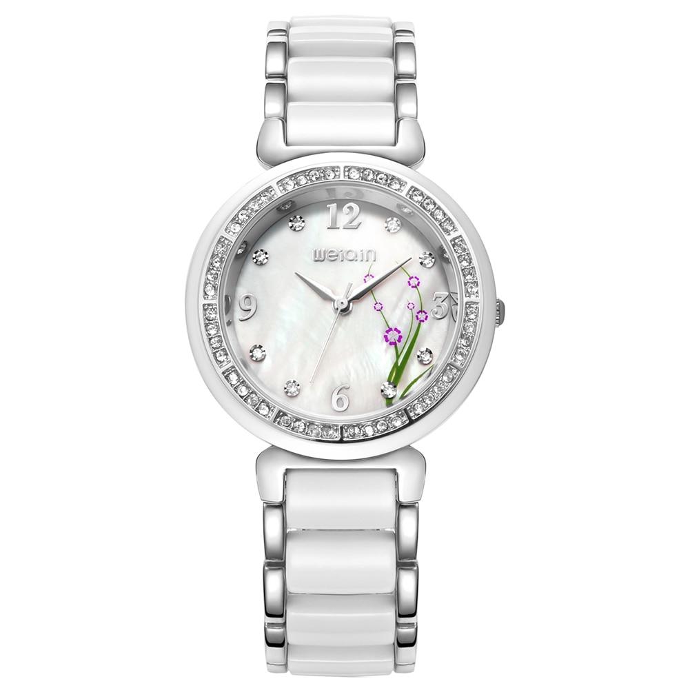 WEIQIN Relojes de moda Mujeres Flor Rhinestone Rose Gold White Quartz - Relojes para mujeres