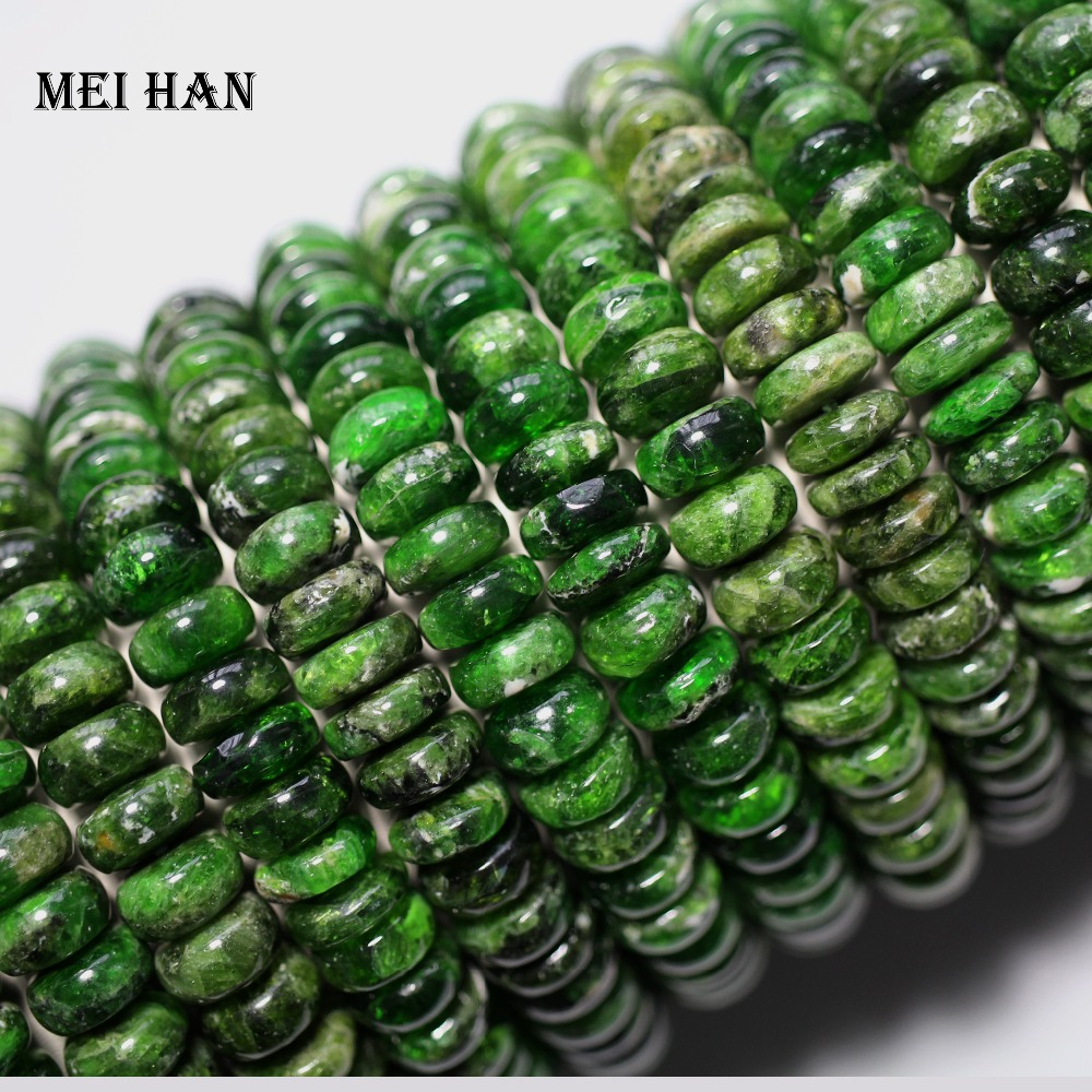 Meihan wholesale 2bracelets set 76g natural 4 6 10mm green chrome diopside rondelle stone beads for