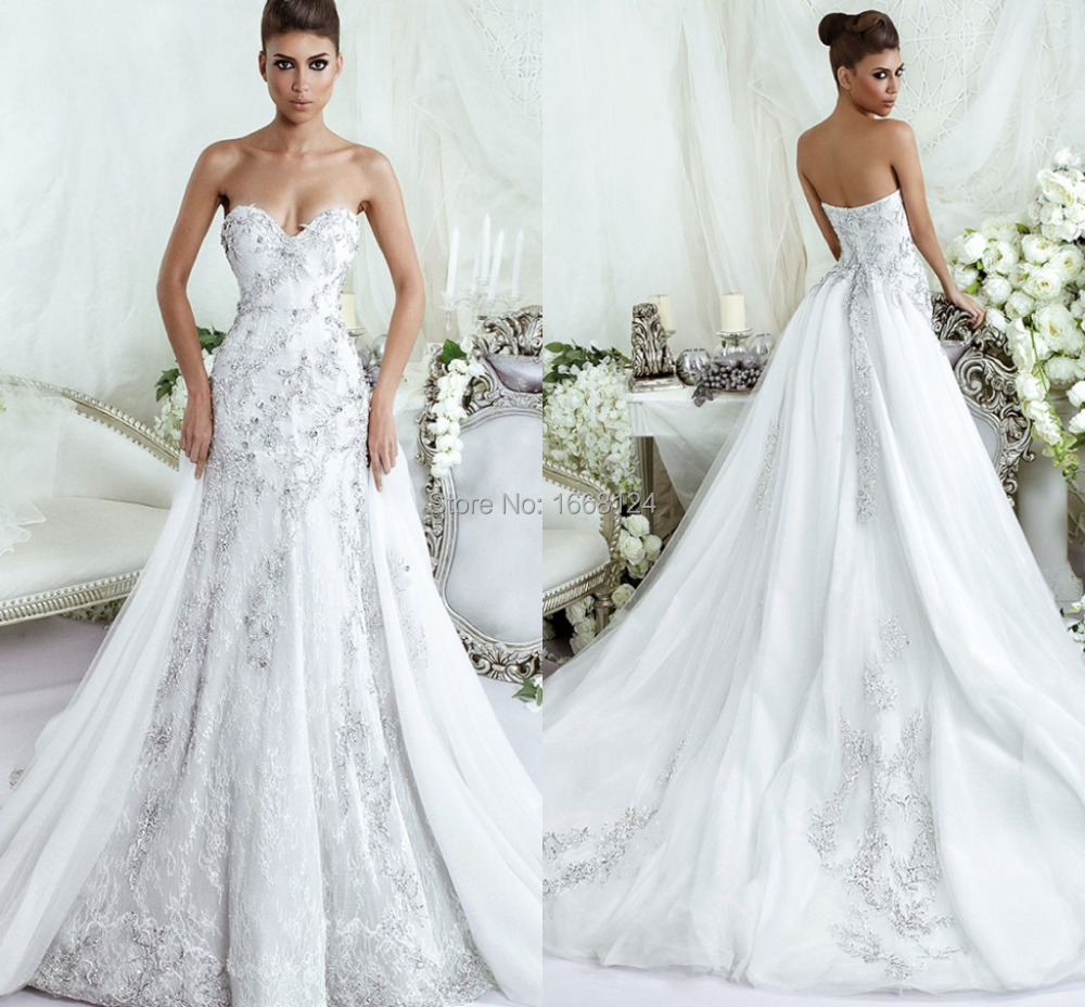 Buy custom made white lace wedding dress for Zuhair murad wedding dress prices