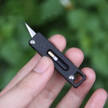 New Titanium And Carbon Fiber Two Versions Baking Blue Graphic Cool Cutter Multifunctional Locked EDC Pocket Tool
