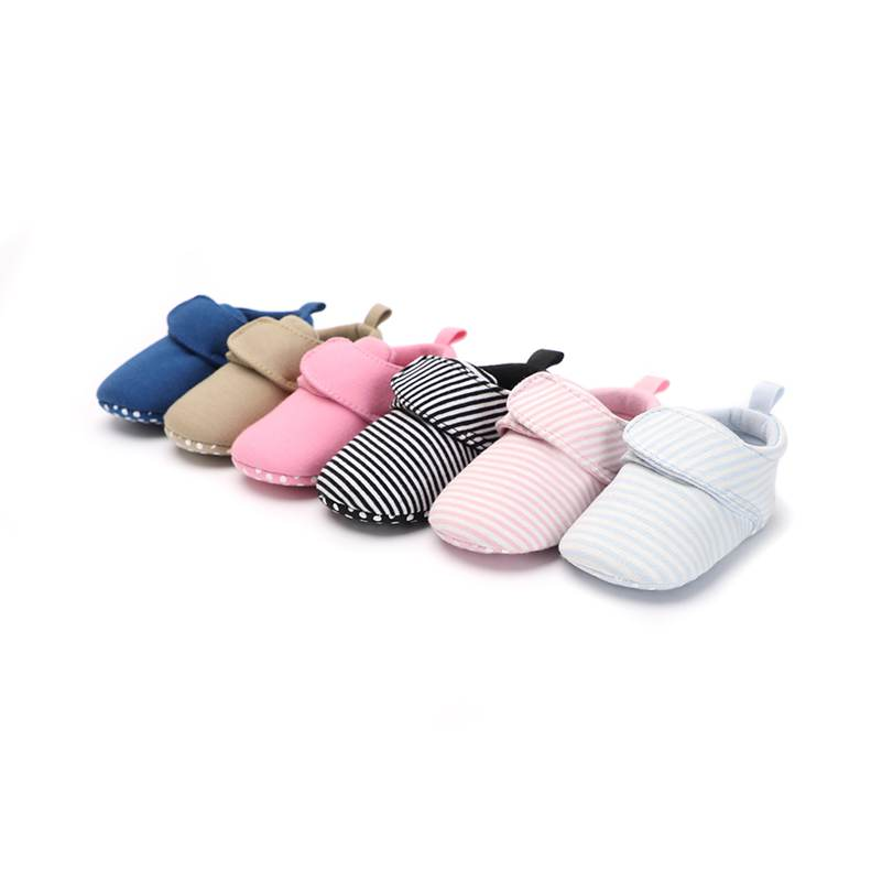 Newborn Classic Baby Booties Striped Unisex Floor First Walkers Crib Shoes All Seasons Cotton Fabric 0-18 Months Moccasins