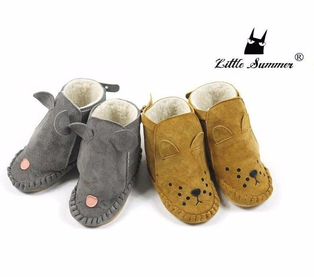 New Winter warm Cartoon Animal Genuine suede leather baby moccasins baby boots kids boys girls snow boots fashion infant shoes