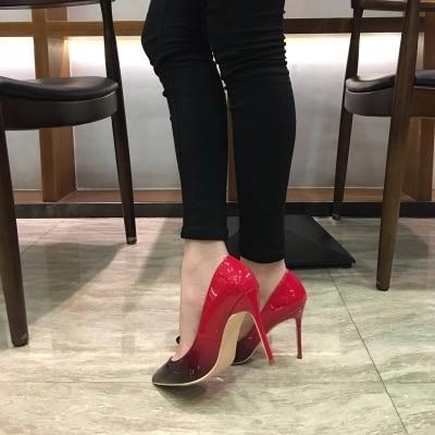 Colore Calda Nero Brevetto Modo Misto Partito Delle Rosso Estate Cuoio Cm On As Di Donne Tacco Slip Vendita A Sandali Pompe Picture Superficiale Punta 10 Idpqd