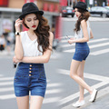 2017 Femme High Waist Shorts Summer Plus size 4XL XXXXL Breasted Women Elasticity Denim Shorts Jeans Female Short taille haute