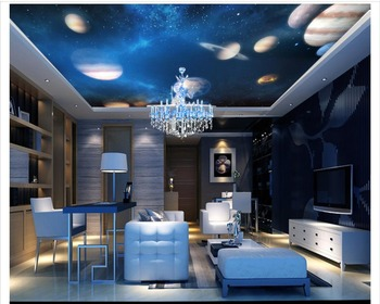 3d Wallpaper Custom 3d Ceiling Murals Fantastic Universe Solar System Starry Sky Space Living Room Photo Mural Ceiling Wallpaper Buy At The Price Of 12 12 In Aliexpress Com Imall Com