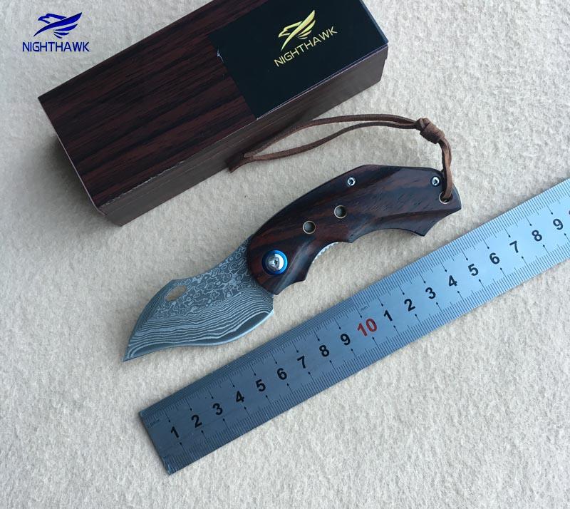 NIGHTHAWK 112 VG10 Damascus steel blade sandalwood + stainless steel processing folding knife outdoor EDC tools цена