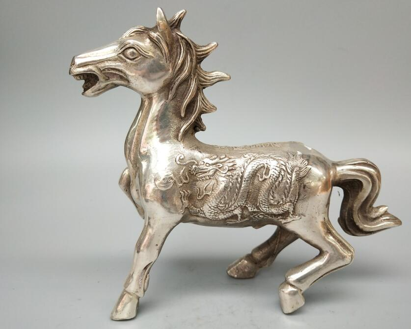 Chinese white copper Carving dragon and Phoenix horse statueChinese white copper Carving dragon and Phoenix horse statue