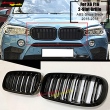 F16 Front Grille ABS Glossy Black For X6-Series F16 M-Style Grills X6 F16 X5 F15 Double Slats Front Bumper Kidney Grille 2015-18 abs car front bumper grille cover trim for bmw f15 x5 f16 x6 suv 4 door 2014 2017