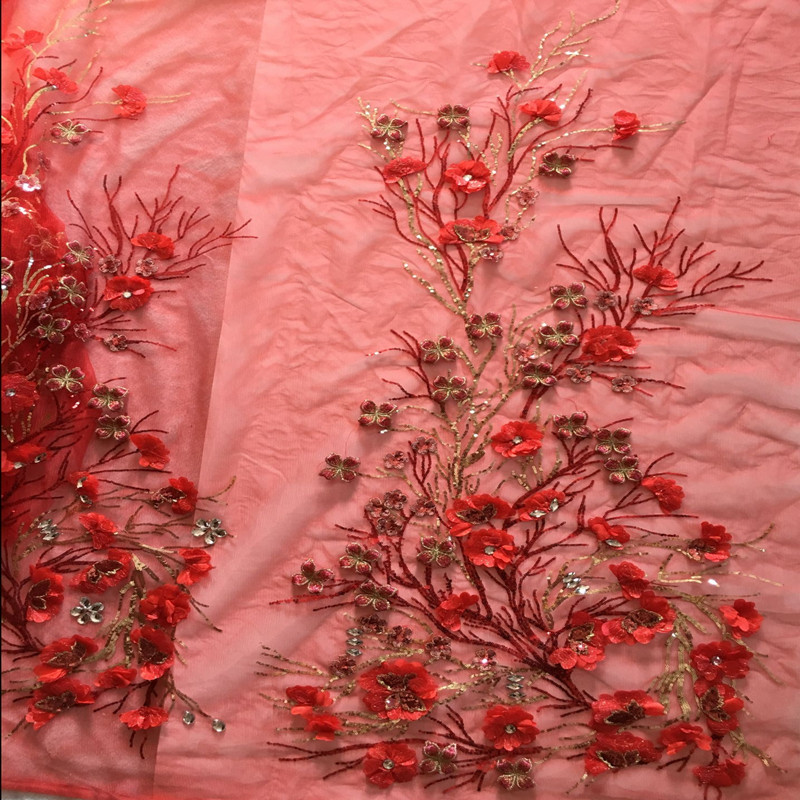 Lagre Applique Patch 3d Flower Red Sequin Crystal Embroidery African Lace Mesh Fabric Material Sew Cloth Wedding Dress Accessory
