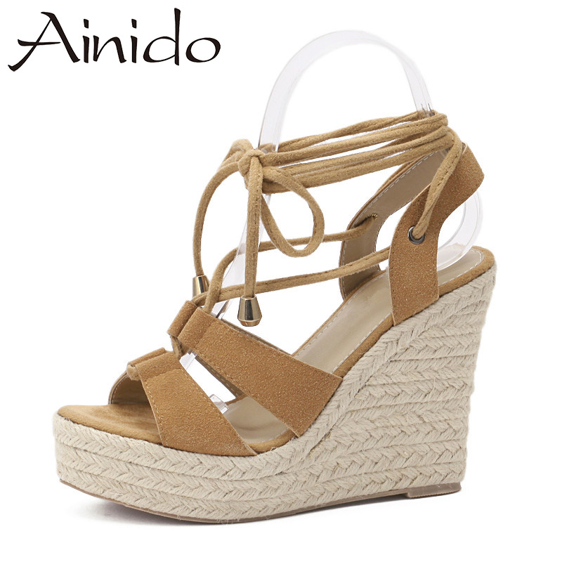 AINIDO Summer Lace up Women Sandals Straw Wedges Platform ...