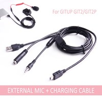 Mini USB 3.5mm External Microphone And Charging Cable For GITUP GIT2/GIT2P  2 in 1 Charge Cable|2 usb cable|usb 3.5mm|cable for -