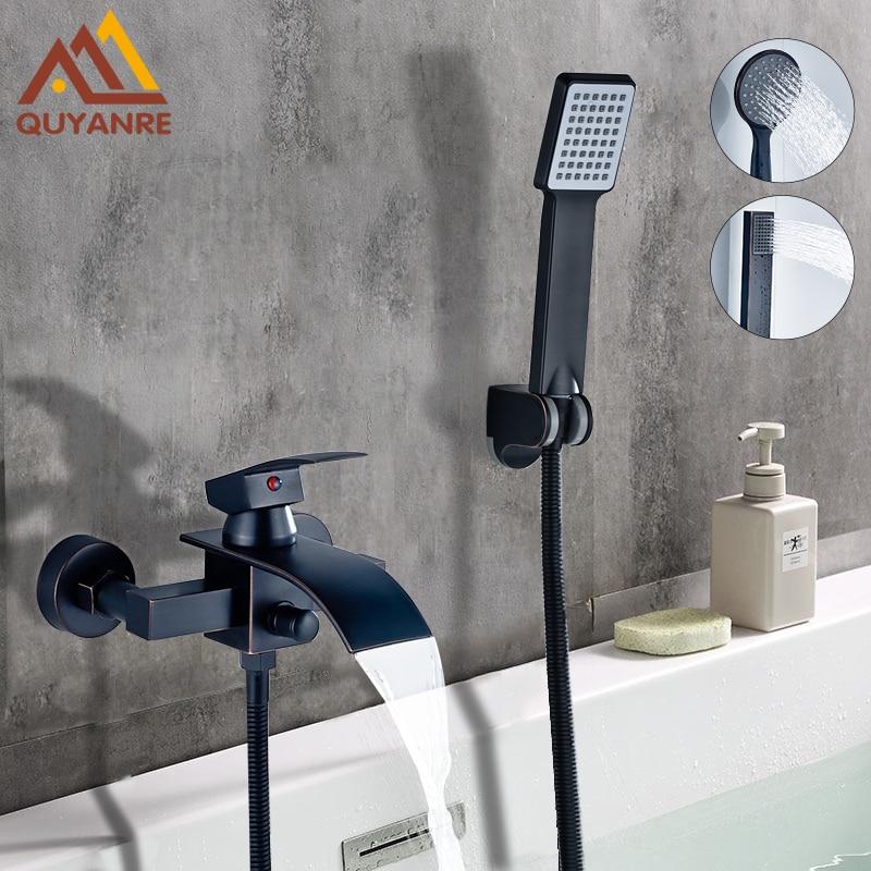 Quyanre Bathtub Shower Faucet Waterfall Faucet Single Handle Mixer Tap Black ORB ABS Handshower Bath Shower