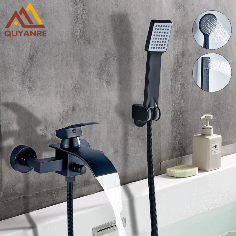 цена на Quyanre Bathtub Shower Faucet Waterfall Faucet Single Handle Mixer Tap Black ORB ABS Handshower Bath & Shower Faucets