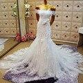 Real Image Lace Mermaid Wedding Dresses 2017 White Lace Backless Cap Sleeve Bride Dress Plus Size vestido de noiva casamento