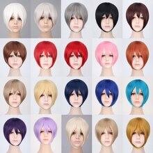 цена на Cheap Halloween Costume Anime Cosplay Wig Short Synthetic Hair Black White Grey Red Pink Blue Blonde Bob Wigs For Men Women