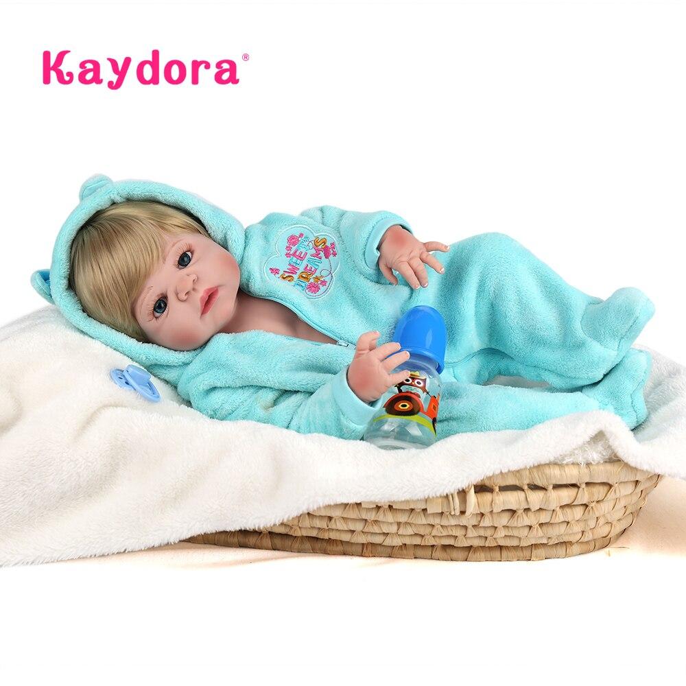 KAYDORA Reborn bebe 55 cm baby reborn menino Lebensechte brinquedos de bebe realistische lol baby corpo inteiro de silikon menino