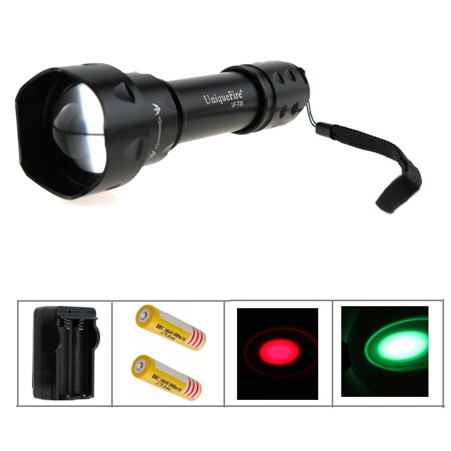 ФОТО UniqueFire UF-T20 CREE Q5 Green / Red Light 3-Mode LED arma de choque hunting Flashlight+2x 5000mah 18650 battery+Charger
