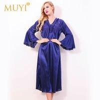 Lace Nightgowns Sleepshirt Home Dress Plus Size Sleep Lounge Mid Calf Sleepwear Women Nightwear Sexy Nightdress Long V Neck 2017