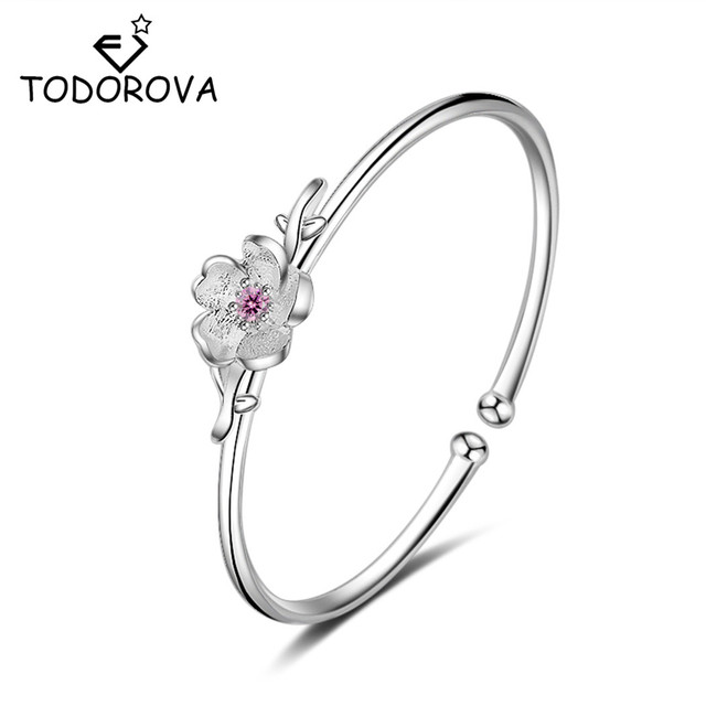 Todorova    Cuff Flower Bracelet Femme Adjustable Charm Pink Crystal Cherry Blossom Bracelet for Women