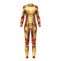 New Women Gold CosplySuperman Bodysuits Long Sleeve Jumpsuits S To xL