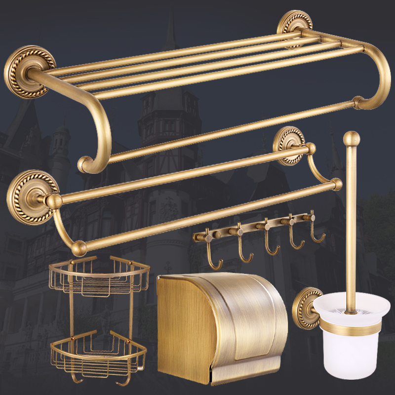 Antique Carved Bathroom Hardware Sets Solid Brass European Bathroom Accessories Set Brushed