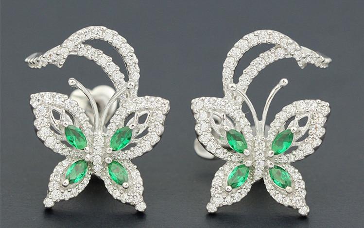 Boucles d'oreilles papillon incrustées de pierre verte en argent sterling 925 pour femmes, cristaux complets, couleur argent, bijoux en boucle d'oreille monaco