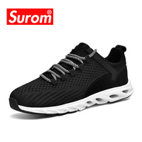 SUROM Fly Weave Men's Casual Shoes Future Theory Male Breathable Lace Up Leisure Chaussure Shoes Fashon Sneakers For Men