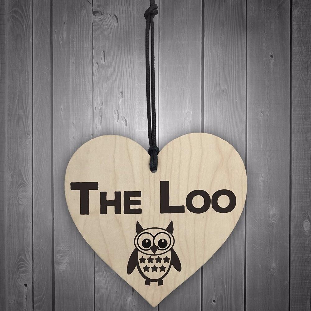 Meijiafei The Loo Wooden Hanging Heart Owl Plaque Toilet Door Sign Shabby  Chic Bathroom Sign In Plaques U0026 Signs From Home U0026 Garden On Aliexpress.com  ...