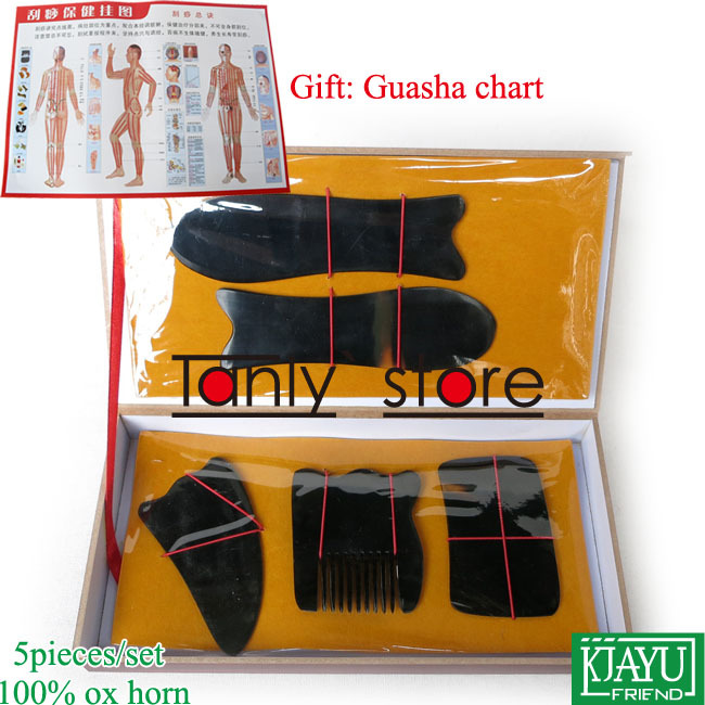 Gift Guasha chart! Wholesale & Retail Traditional Acupuncture Massage hard box Gua Sha kit 5pcs/set 100% ox horn